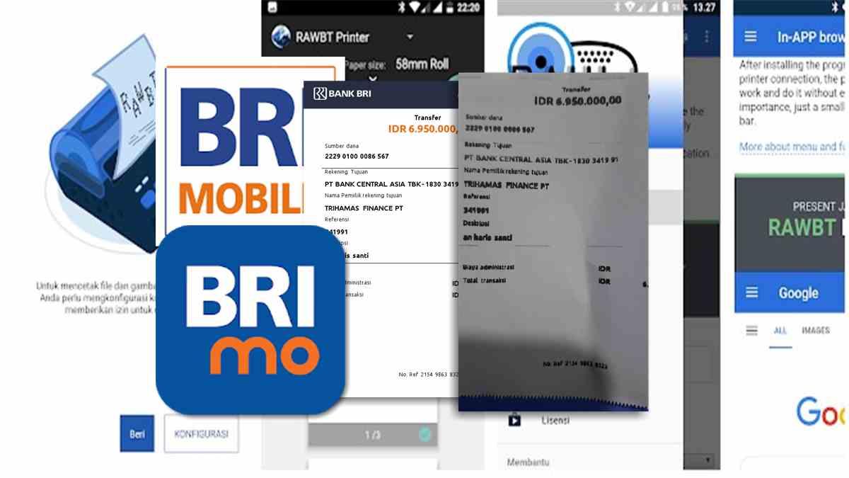 Cetak struk Internet Mobile Banking BRI dari HP ke printer bluetooth